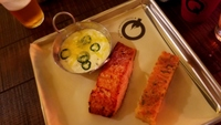 Grilled Salmon with Jalepeno Cheese Grits Q Texas Smokehouse