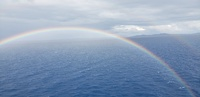 Double Rainbow outside our balcony while underway