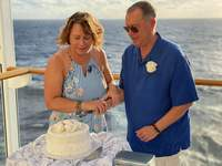 Cutting our vow renewel cake after ceremony. Private ceremony on Waterfront