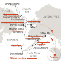 The map shows the cruise that we originally booked and paid in full over a