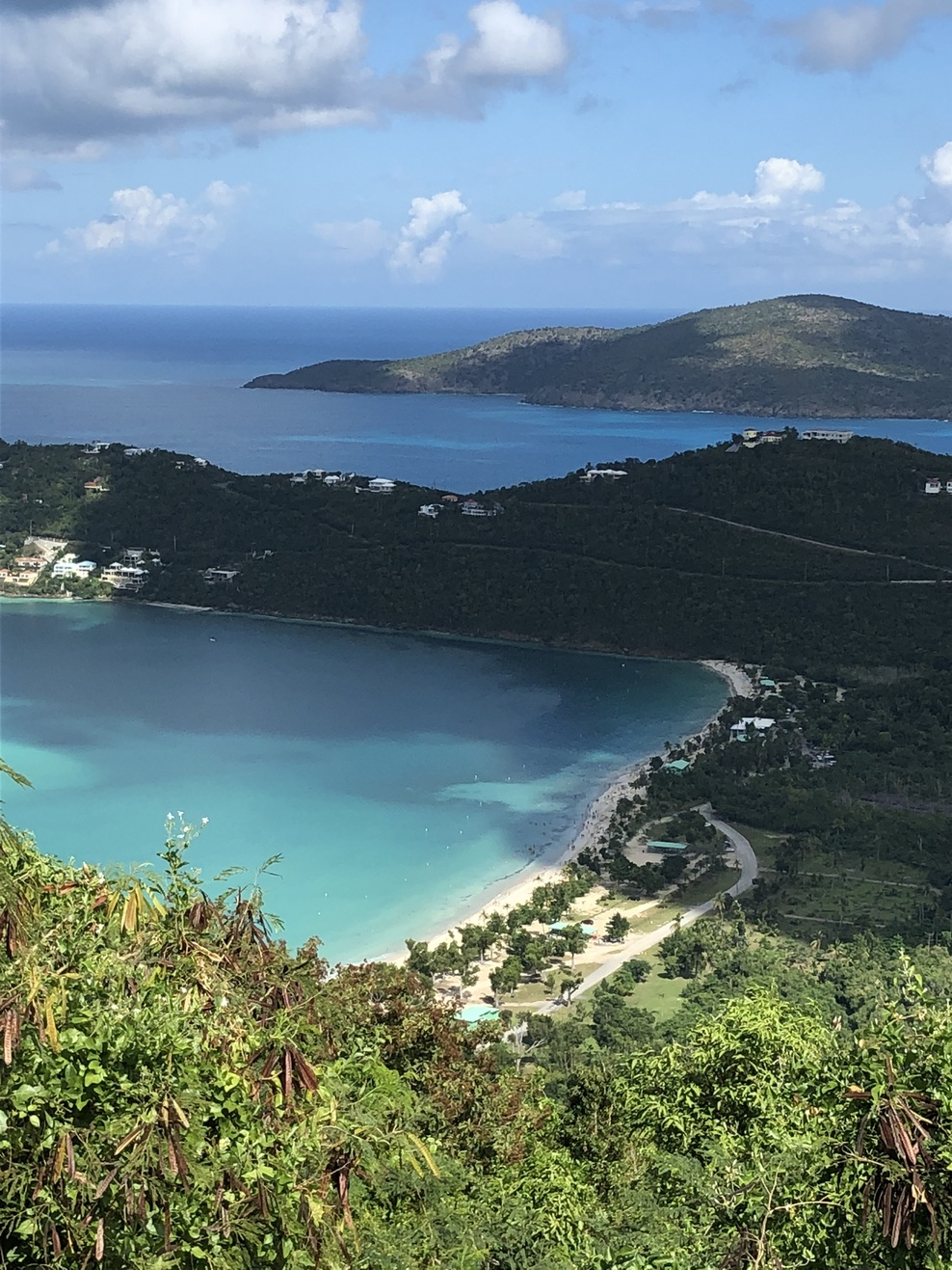 View of beaches from high up island.