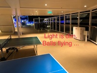 Light too dim in ping pong area. And there is no board to block balls rolli