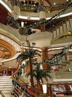 The Stairs and Atrium decorated for Christmas