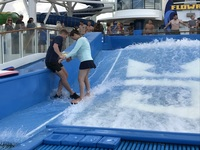 My wife, Kelly, taking advantage of the onboard (FlowRider) water