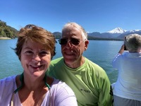 "On catamaran ""Wellness Excursion"" - Puerto Chacabuco - volcano in backg"
