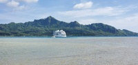 Ship at anchor on Huahine, French Polynesia