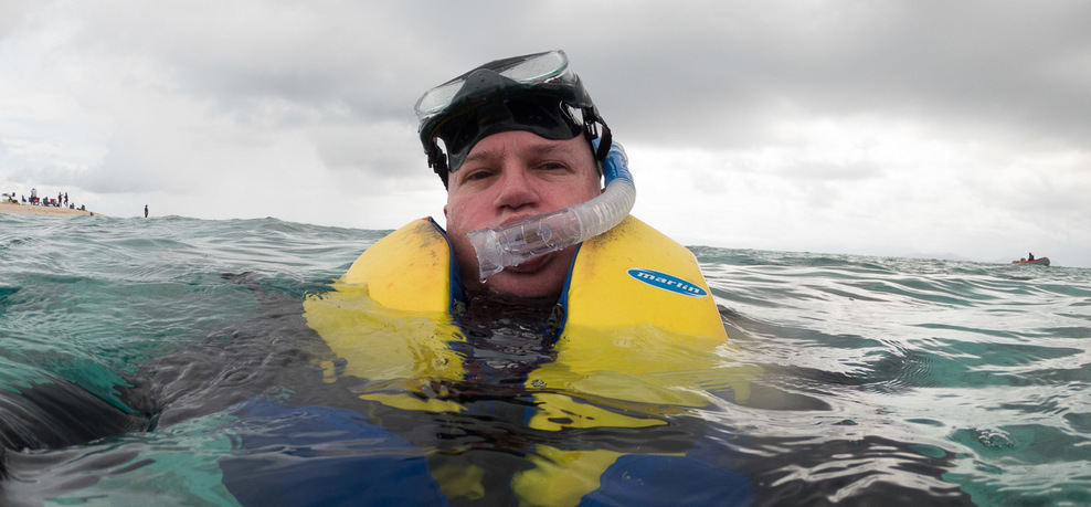 1st snorkel in 20 years - Sudbury Cay in the background