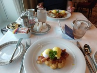 Main Dining Room breakfast, Eggs Benedict over waffles instead of English m