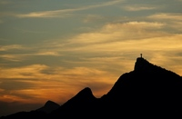 View of Christ the Redeemer as we left the port of Rio de Janeiro at sunset