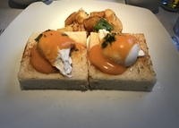 Fruits de Mer: scallops and shrimp on toasted brioche with a poached egg an