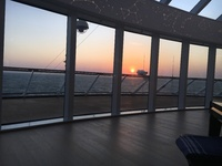 Sunset view from the front lounge of the Viking Orion