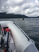 Riding in our own Zodiac in Hoonah Alaska.