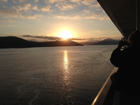 Sun over the horizon north of the arctic circle.