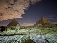 Night shot Giza Pyramids