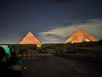 Night shot Pyramids during light show