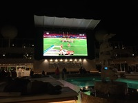 Super Bowl on the pool deck.