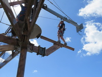 Got the chance to walk the plank on the ropes course.