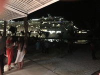 View of our ship, the MSC Divina, as seen from one of the bars on Ocean Cay