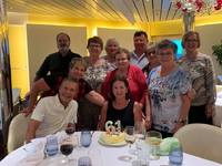 Our group of 11 celebrating my cousin's 61st birthday. A cake was provide