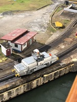 Entering Panama Canal locks....mules