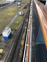 Panama Canal....Looking down at distance between ship and locks wall